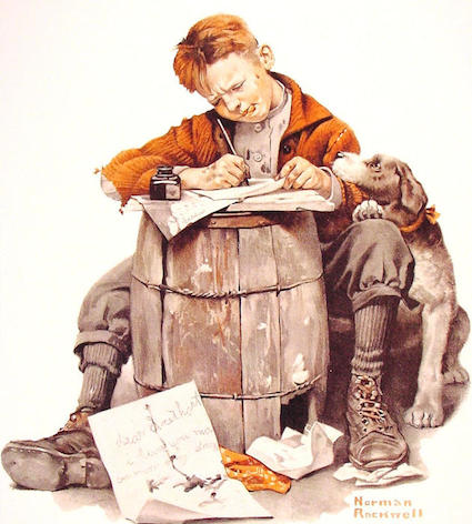 ya394 Little boy writing a letter.JPG