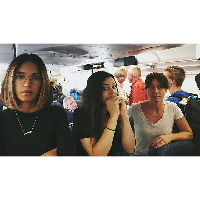 Don't let our faces deceive you...we're stoked to spend this 9 hour flight to #Amsterdam side by side 💺💺💺