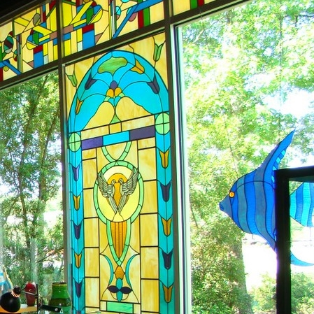 Stained Glass by Conway Glass center, Angel painting Peggy Thibodeau.jpg