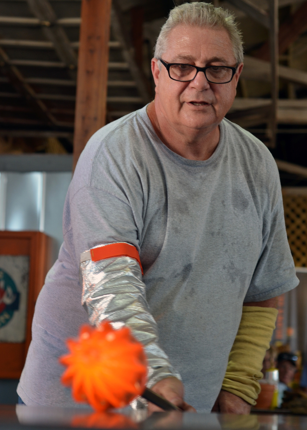 Ed Streeter making a glass pumpkin