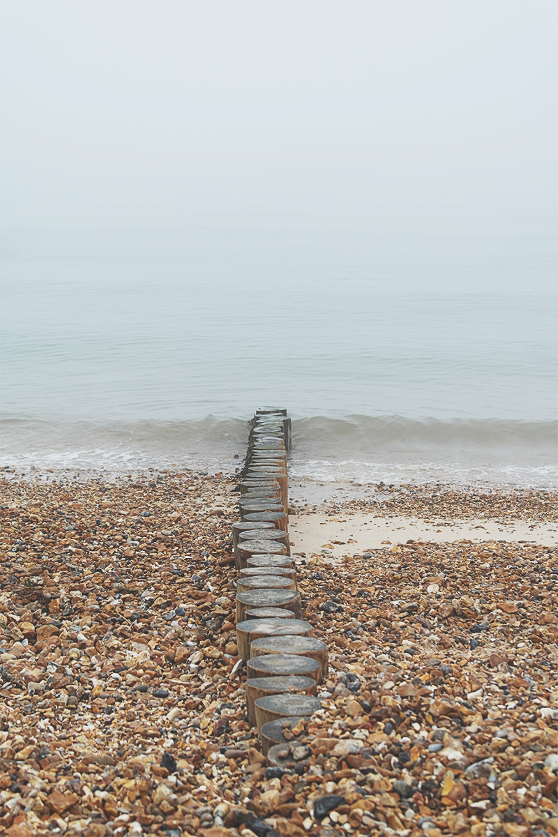 Foggy day at Calshot Beach, the New Forest