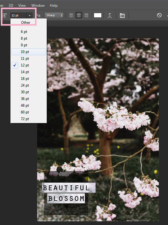 changing font size photoshop