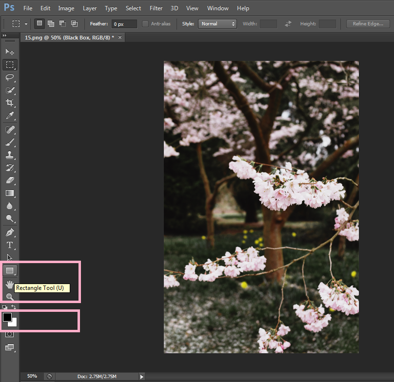 creating a box overlay in Photoshop