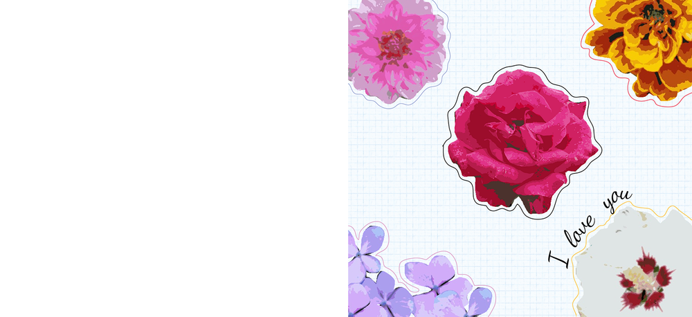 Free Printable Valentines Card - posterized flowers