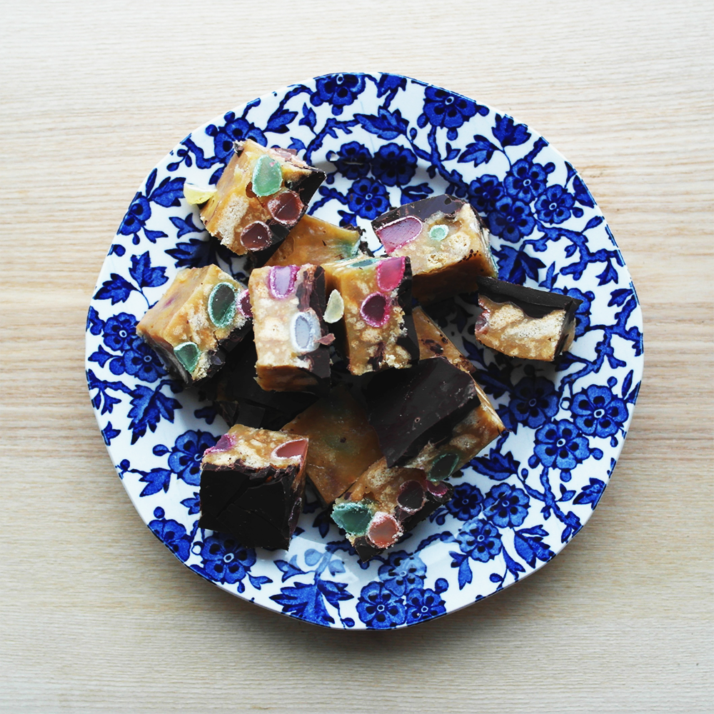 Chocolate and Jelly Bean Tiffin