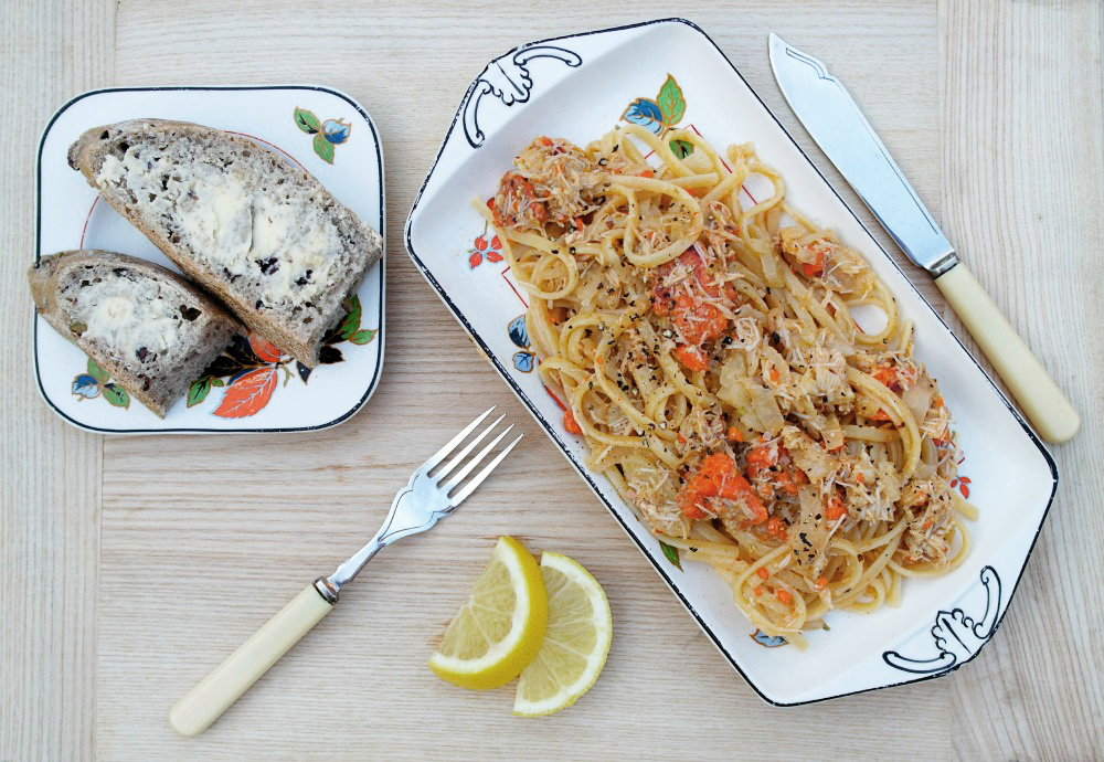 Crab Linguine recipe - a tasty lunch!