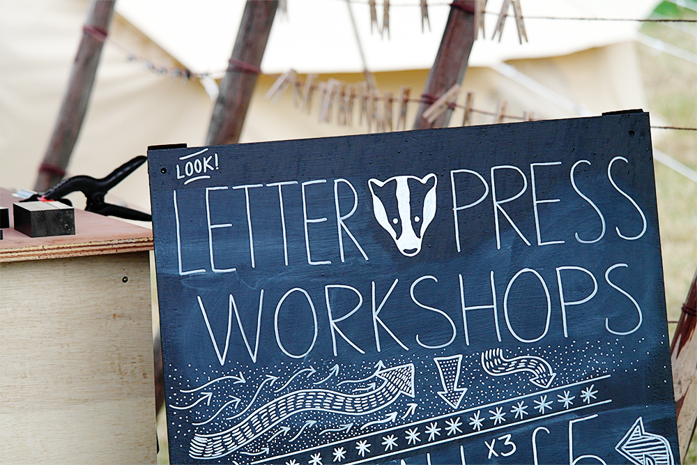 Badger Press Letter Press Workshops, Spinney Hollow, Camp Bestival 2014