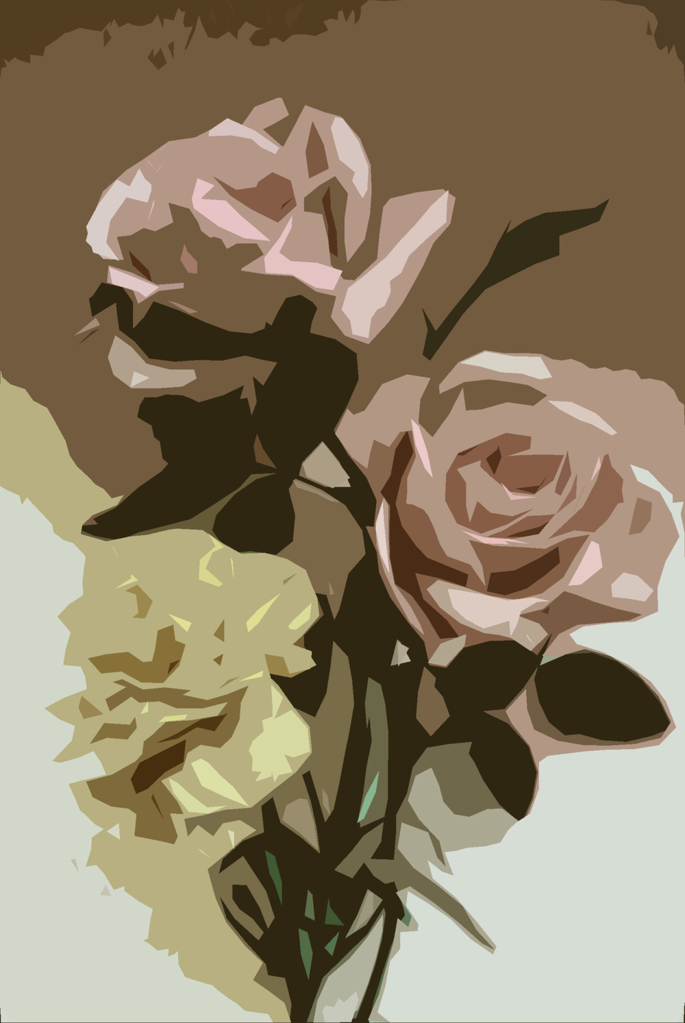 Vintage flower illustration given the 'Cut Out' filter in Photoshop