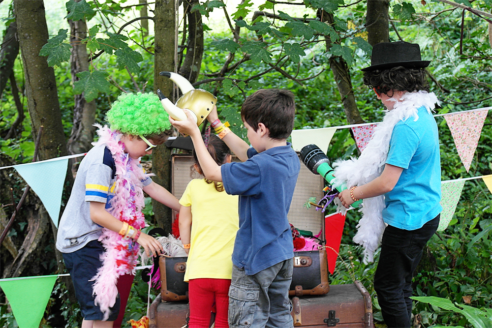 Children dressing up in the Dingly Dell, Camp Bestival