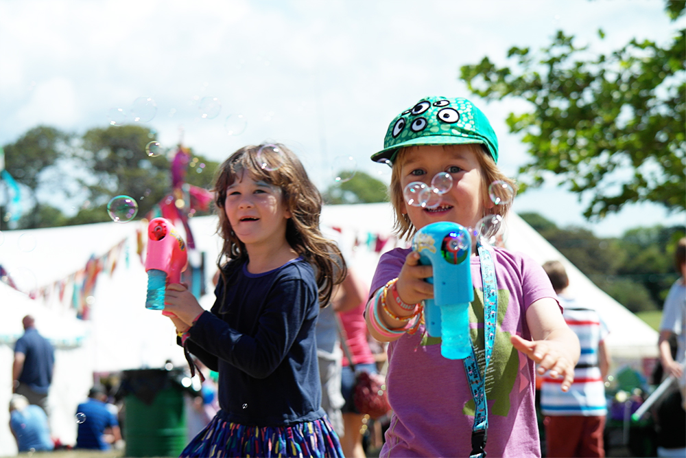 Bubble gun from Bubble Inc at Camp Bestival