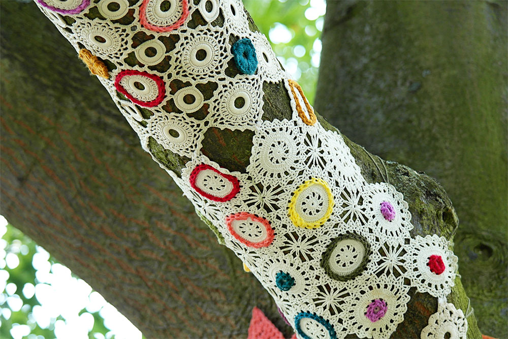Crocheted Trees at Kew Gardens by Knitiffi