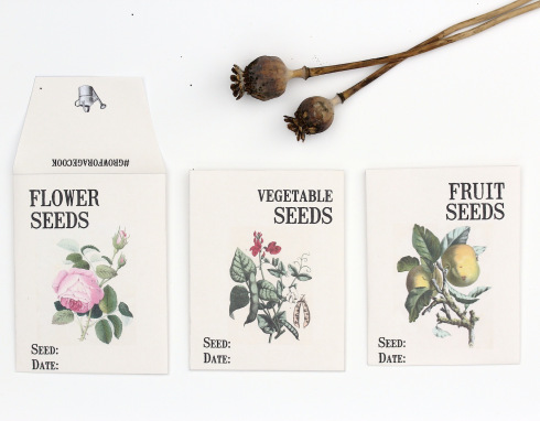 Seed packet printables c/o Wolves in London