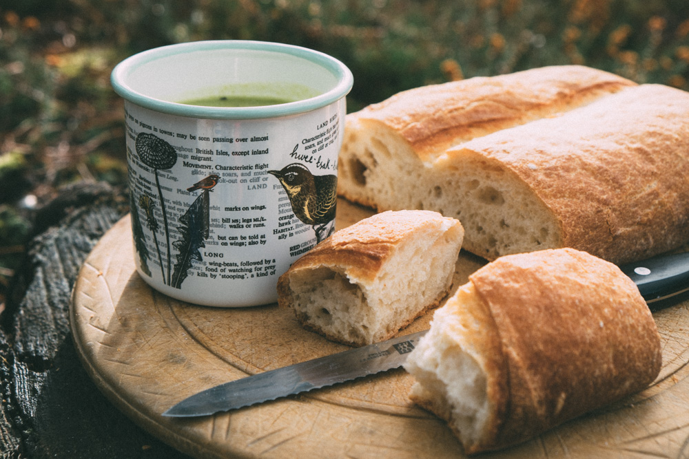 Prepare at home, enjoy outdoors: Roasted Garlic & Pea Soup