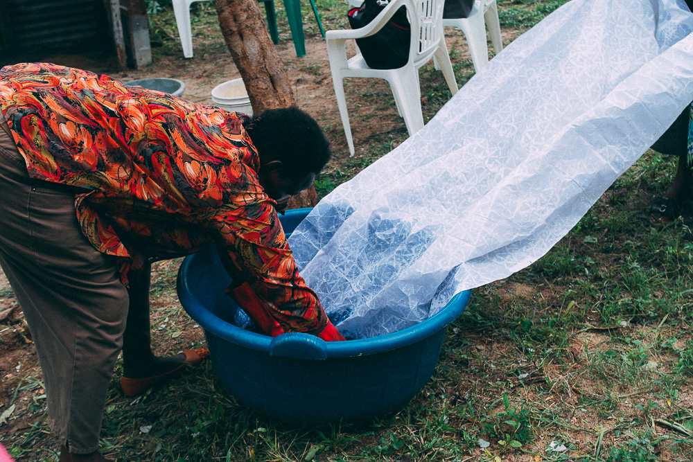 Watching the batik making process at a Comic Relief funded project in Tanzania
