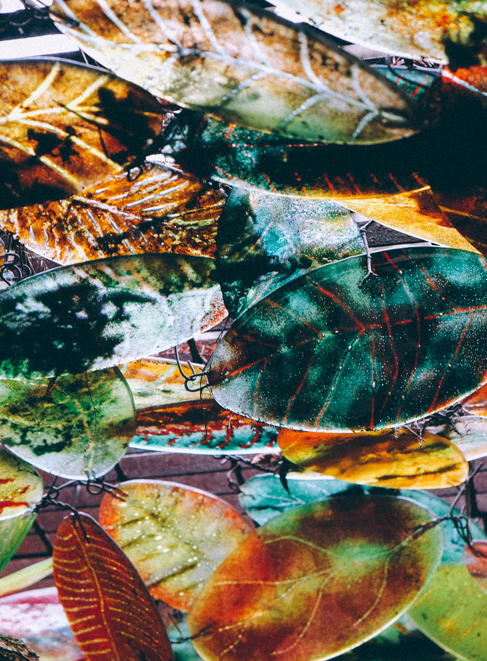 stained glass leaves at furzey gardens, hampshire
