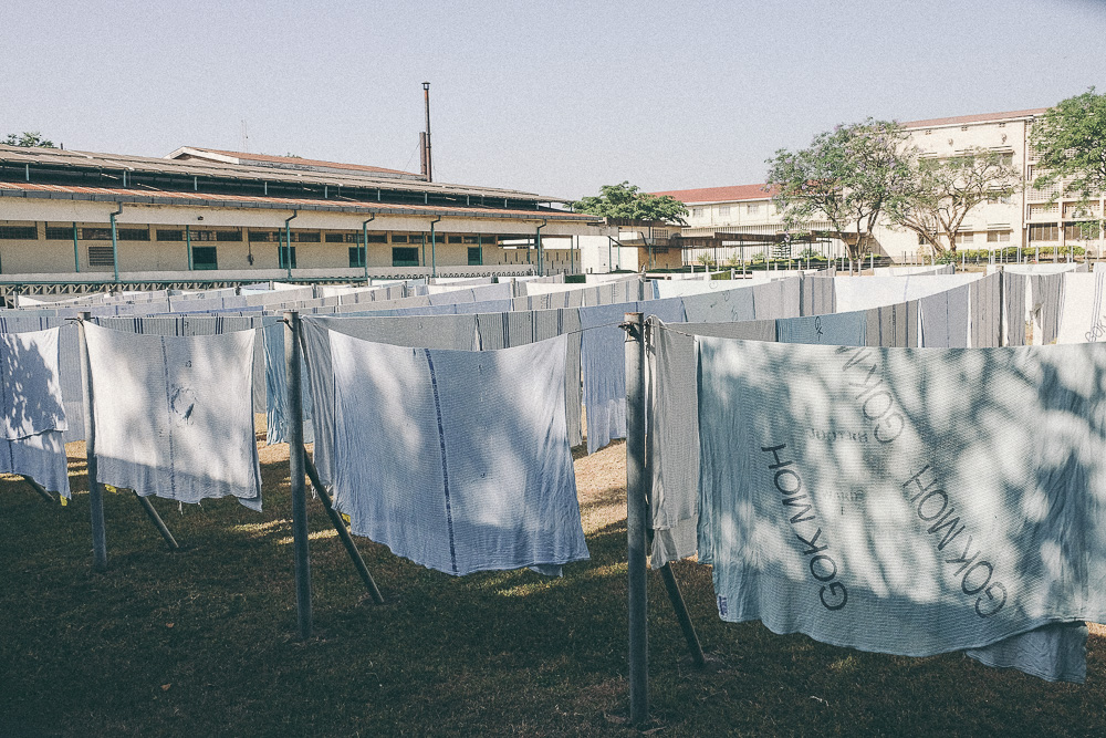 Hospital sheets hanging out to dry at  JoTRH, Kenya