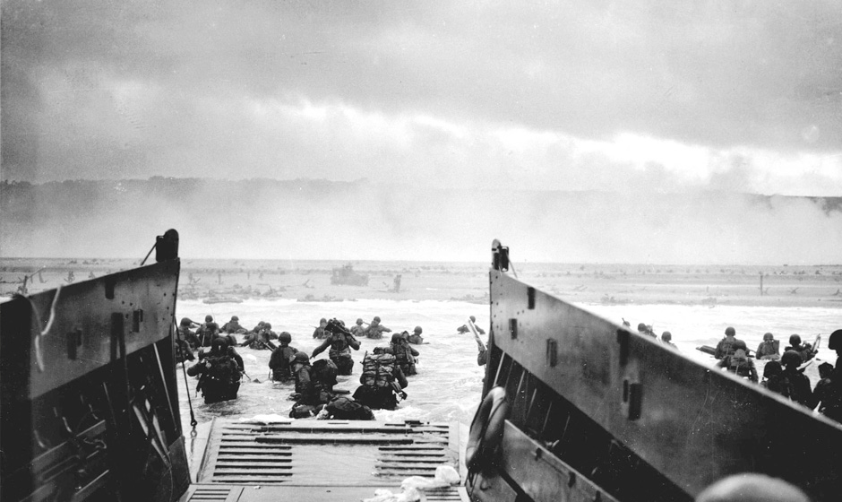 D-Day landings at Omaha Beach, Normandy - image via National Archives