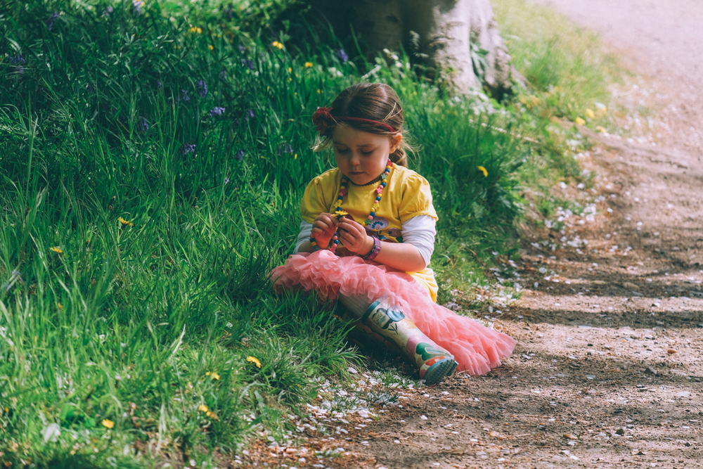 Poppy takes five to pick dandelions for us