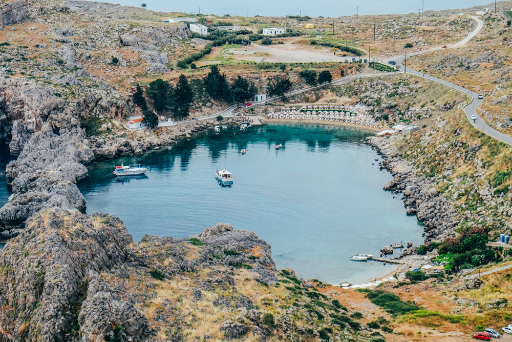 View of St Paul's Bay from the Acopolois of Lindos