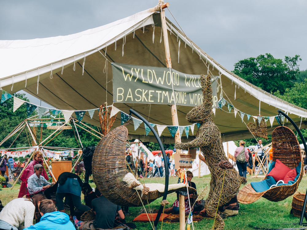 Photos of The Greencrafts Village, Glastonbury Festival 2015: Wyldwood Willow basket making workshop