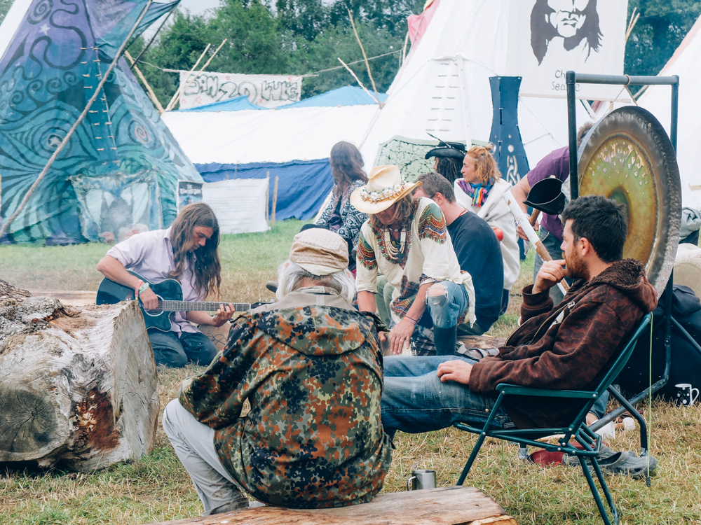 Glastonbury 2015 in Photos: Jamming in the Tipi Village round the fire