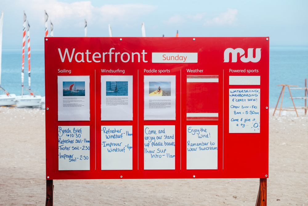 The Waterfront beach notice board at Mark Warner's Levante Resort