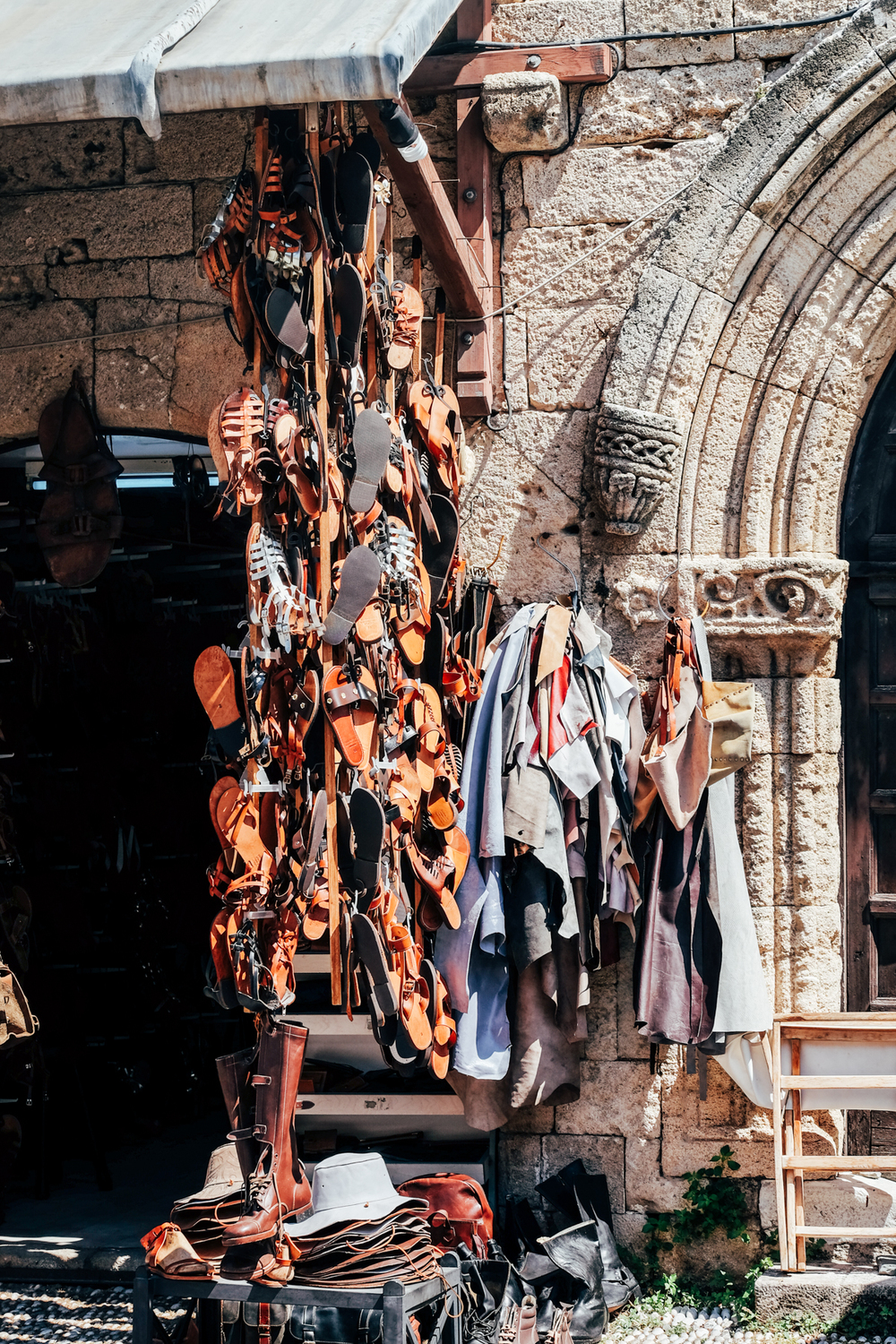 Leather stall,Rhodes Old Town