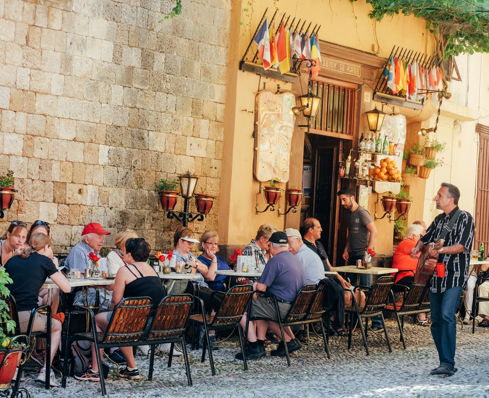 Restaurant on the Street of the Knights,Rhodes Old Town