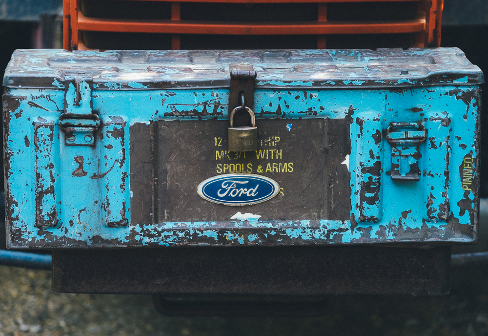 Toolbox on a tractor