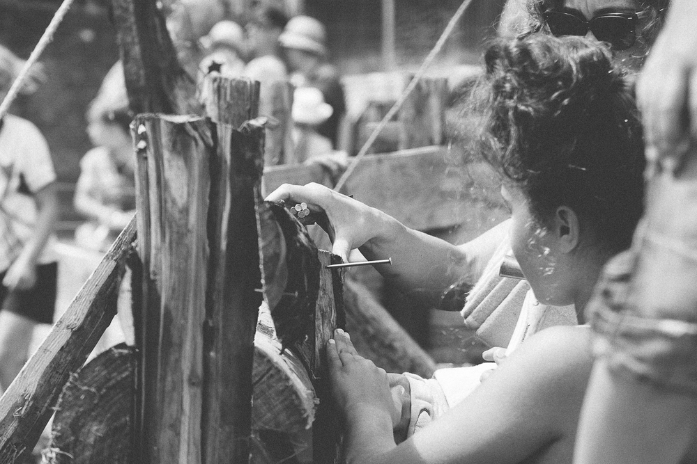 Girl hammering nails, Camp BEsitval