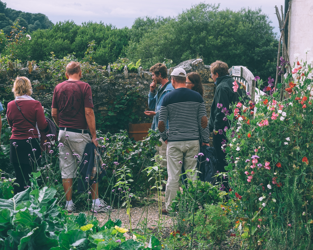 Gardener giving a tour of the River Cottage garden