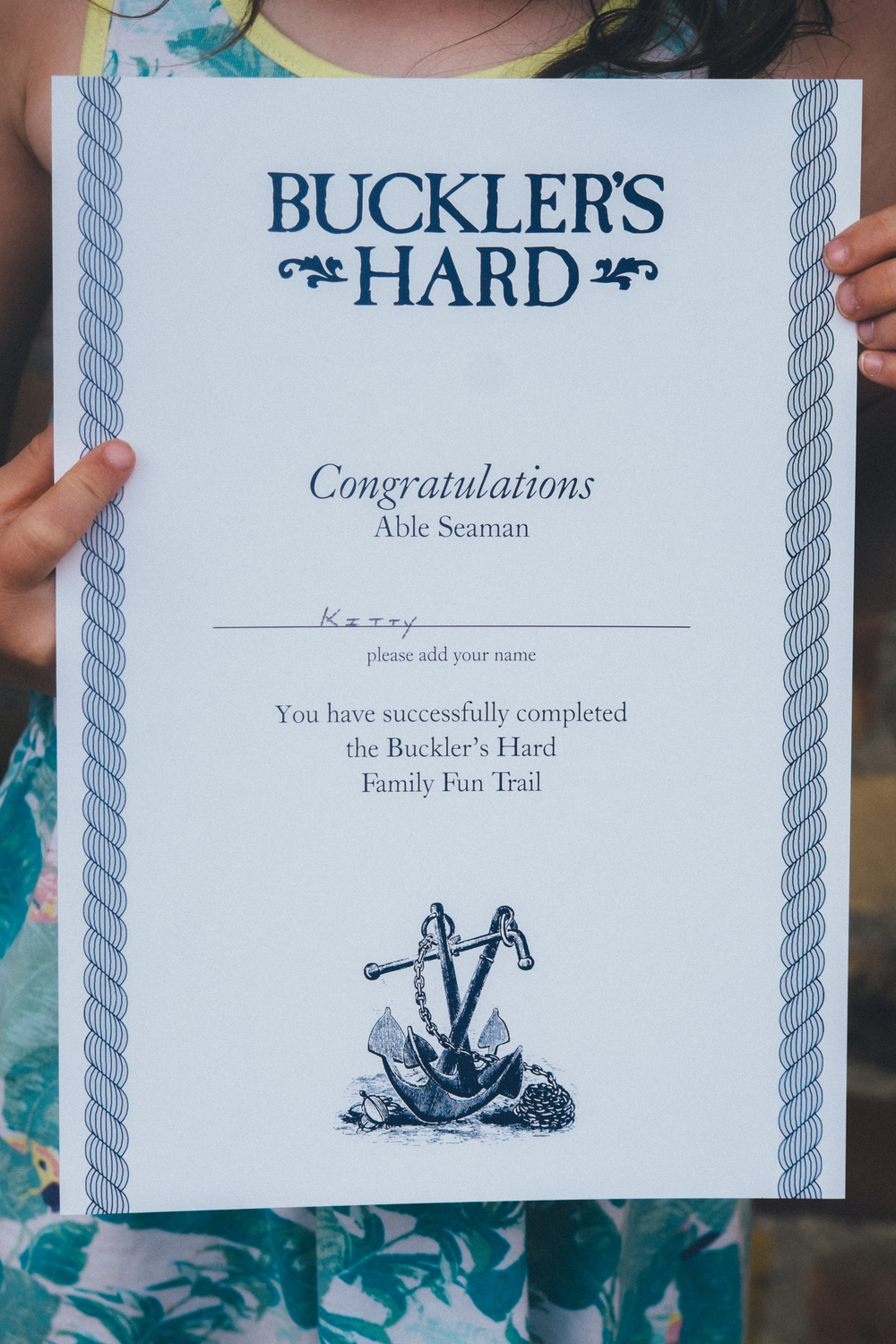 Buckler's Hard kids trail certificate