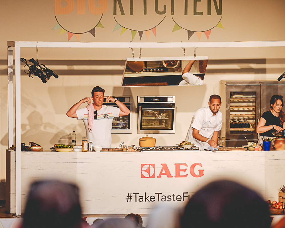 Jamie Oliver in the kitchen at The Big Feastival 2015