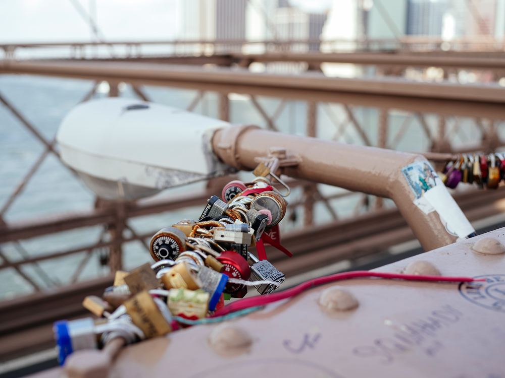 Padlocks on the Brooklyn Bridge, NYC