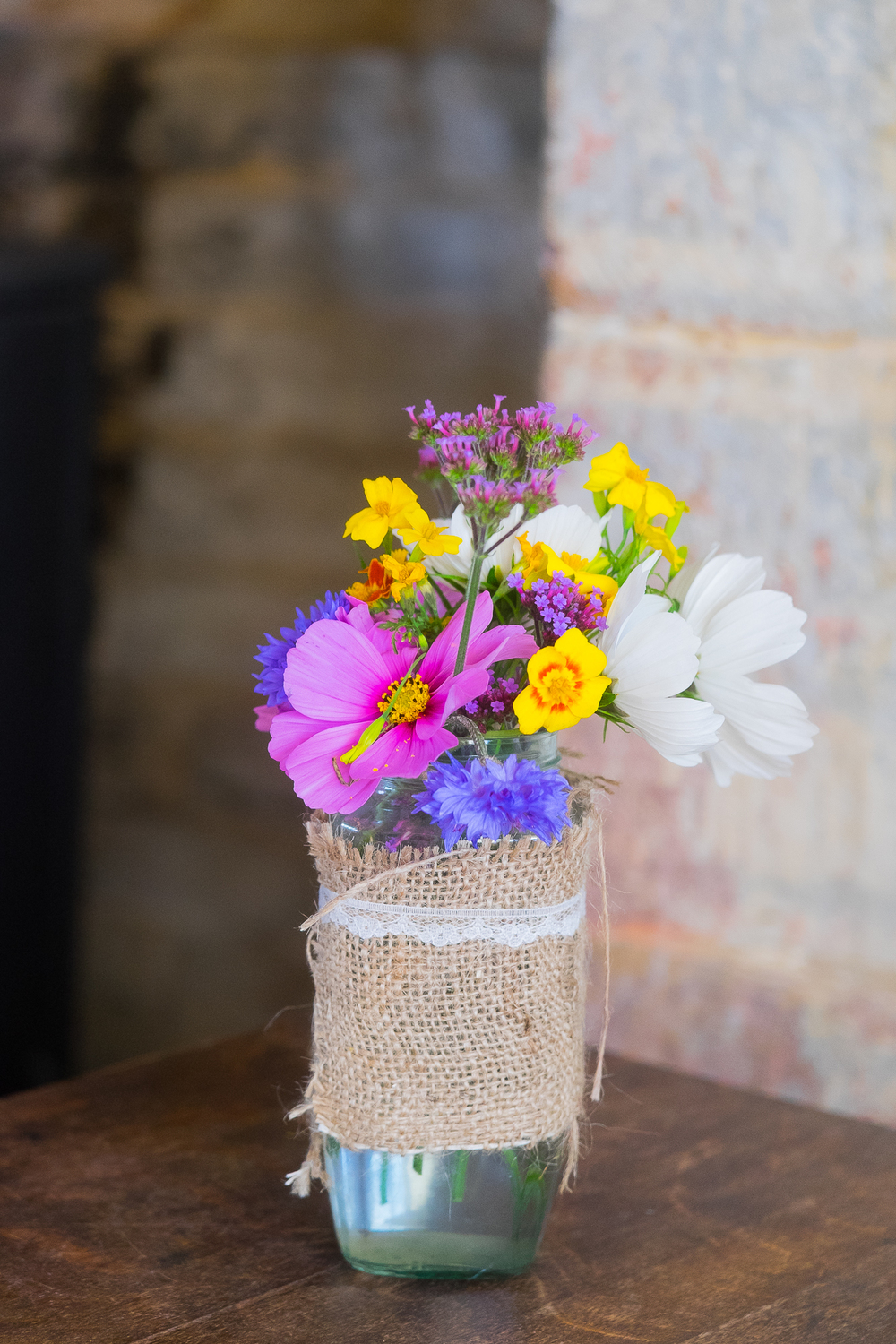Pretty jar of handpicked flowers
