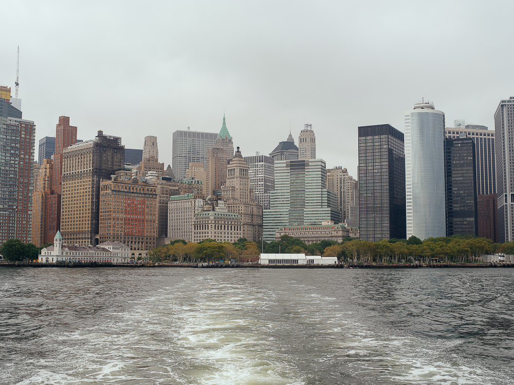 Ferry ride to Liberty Island, View of New York