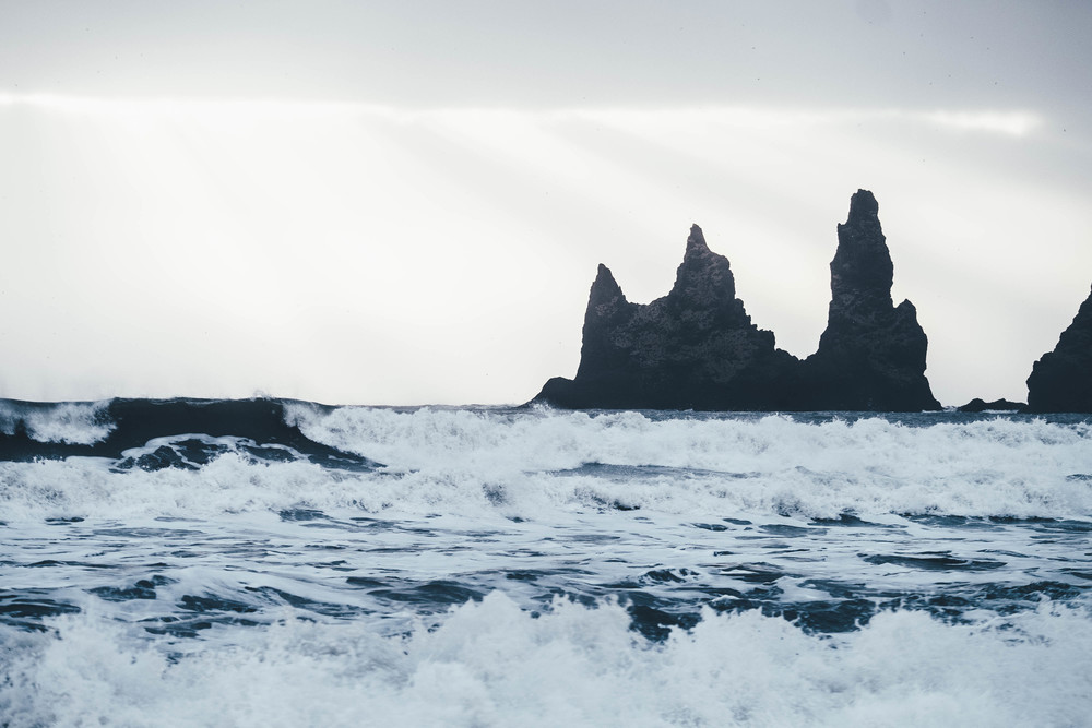 Reynisdrangar and the Black Sand Beach at Vik, Iceland