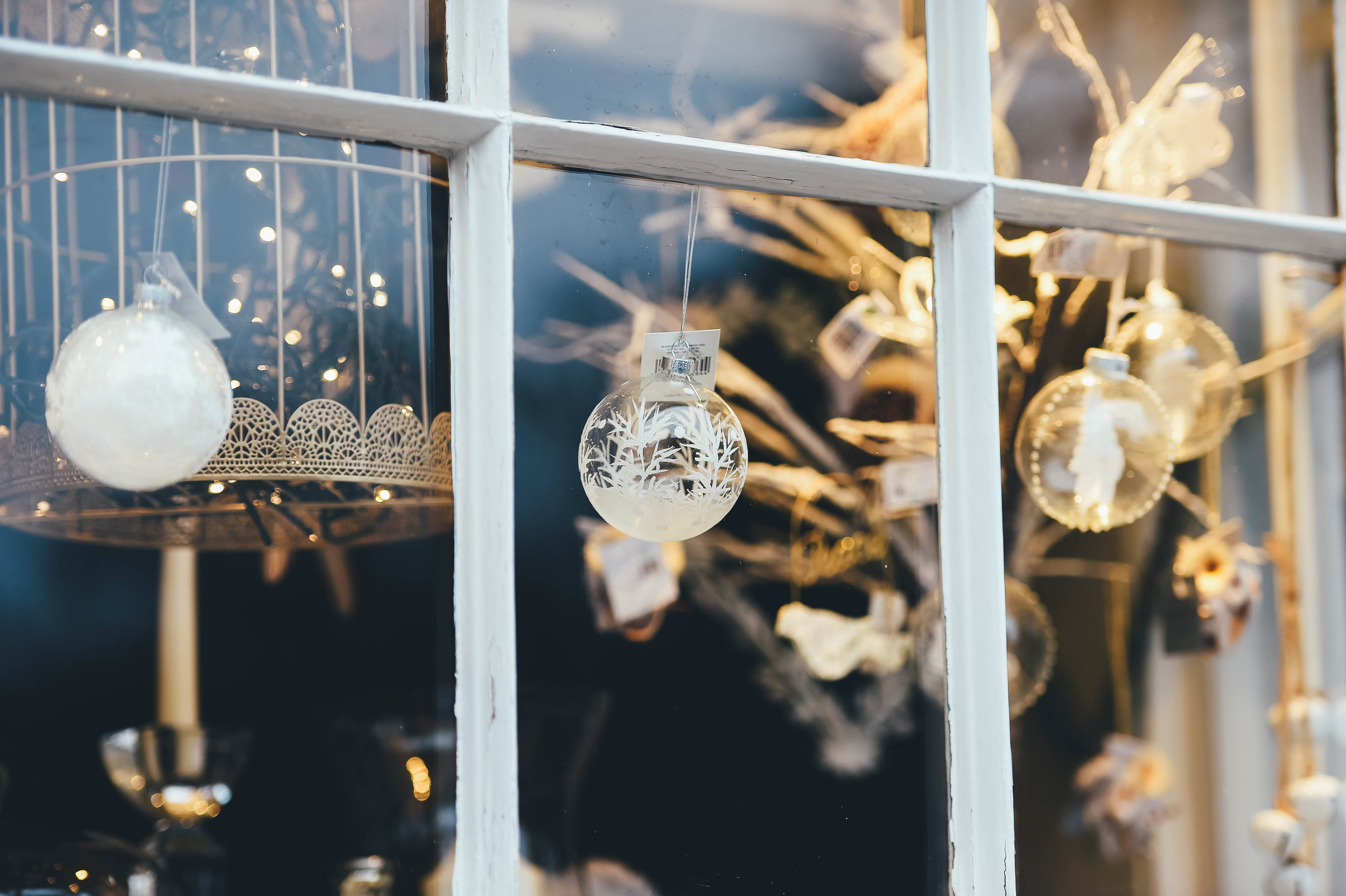 Christmas decorations in window