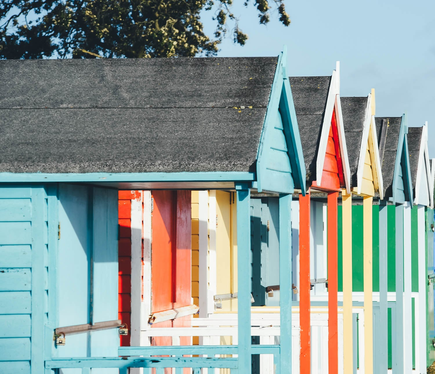 Beach Huts at Calshot Beach