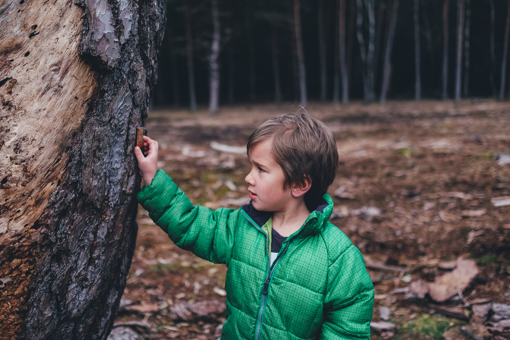 Boy standing by tree