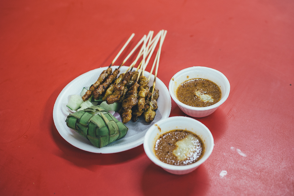 Pork and chicken satay at a Hawker Centre in Singapore