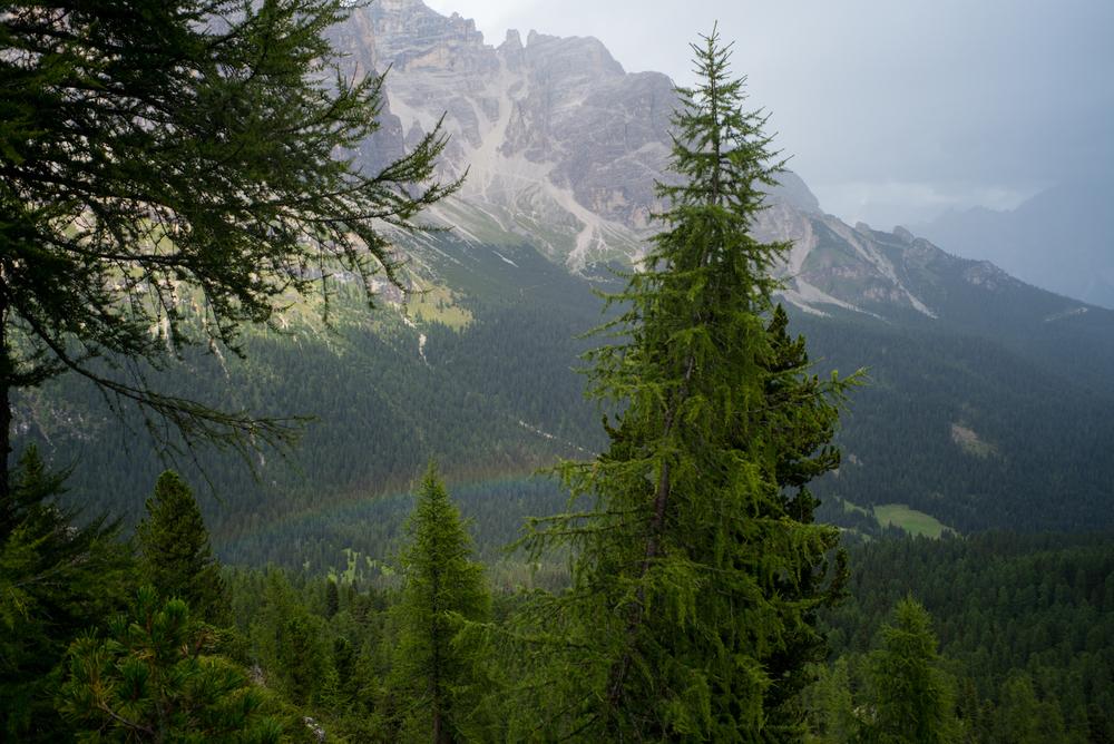 Above a rainbow, near Cinque Torri