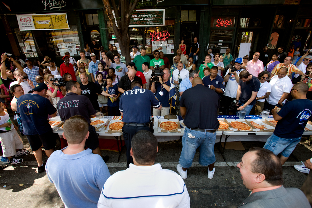 One day each summer Patsy's rolls back prices to 1933 levels, plus they host a pizza-eating contest between the cops, firefighters, and EMS workers.
