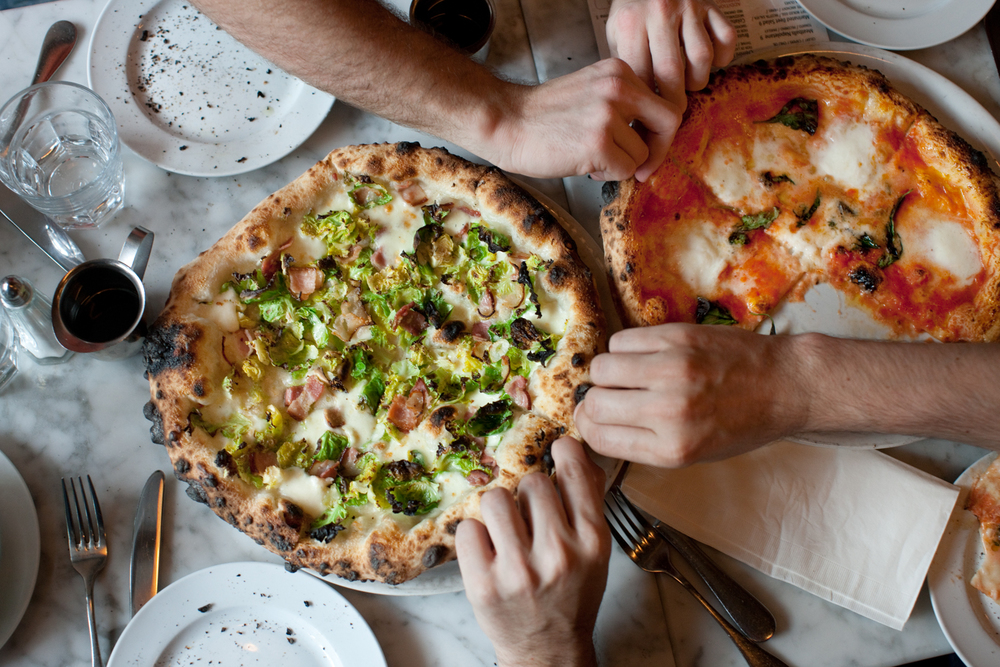 The plate-sized pizzas at Motorino in the East Village (and in Williamsburg) are things of beauty (and of top notch good ingredients).