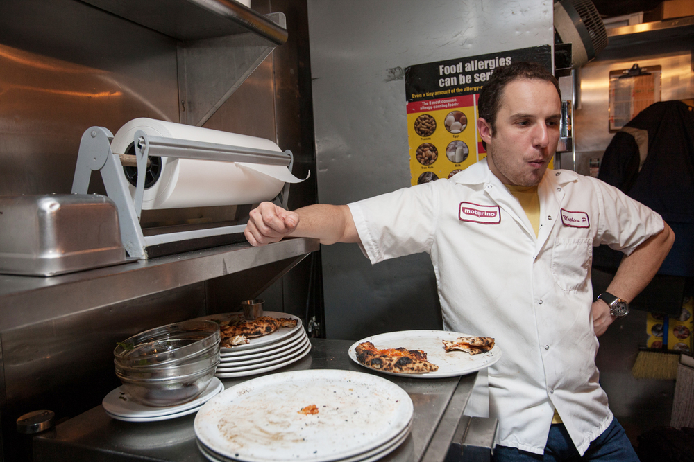 Motorino owner Mathieu Palombino in the kitchen at his excellent East Village pizza restaurant.
