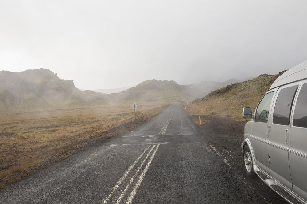 Ground steam, roadway, and van