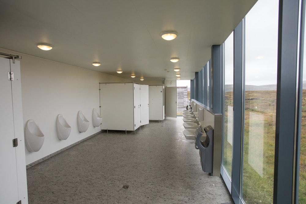 The bathroom and windows at Gullfoss waterfall