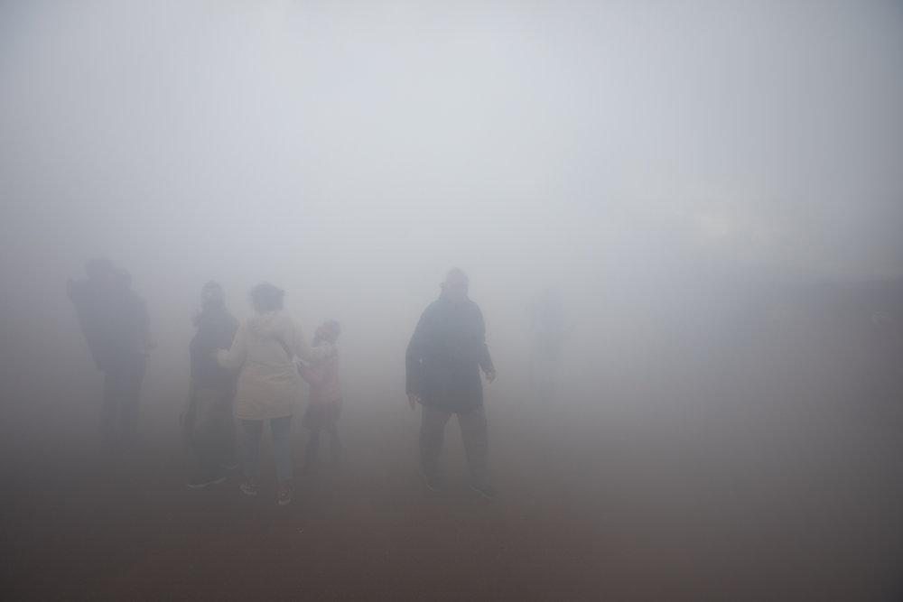 Steam in the air following Geysir's eruption