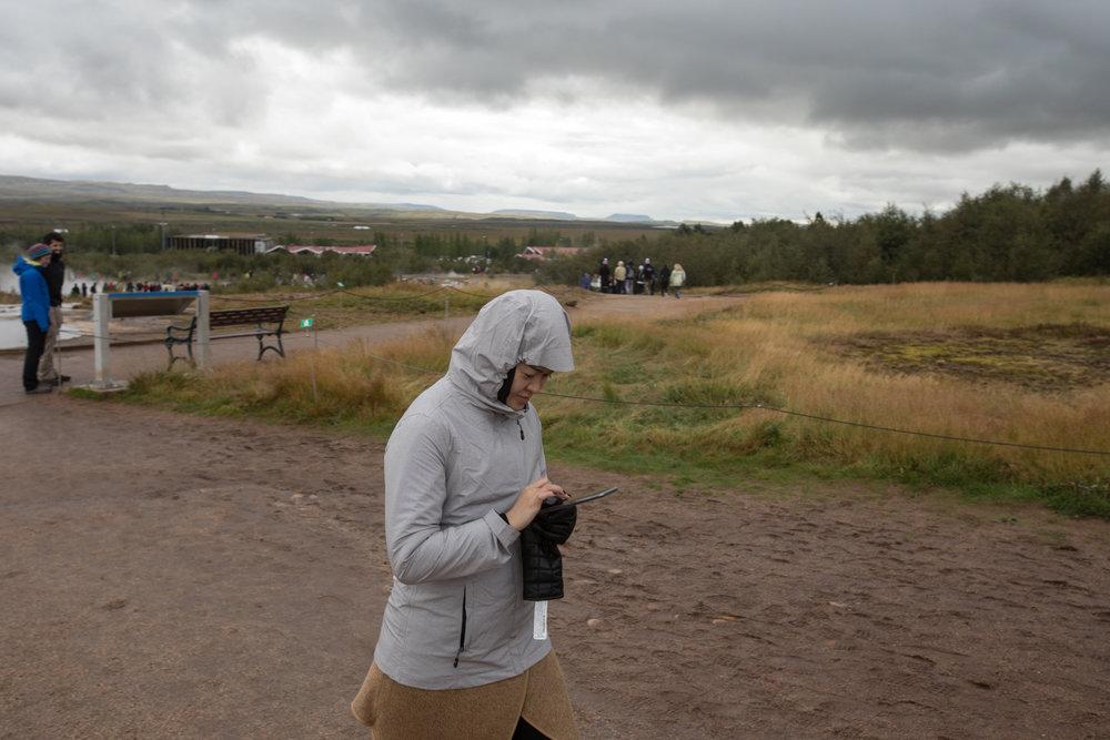 Walking with device near Geysir