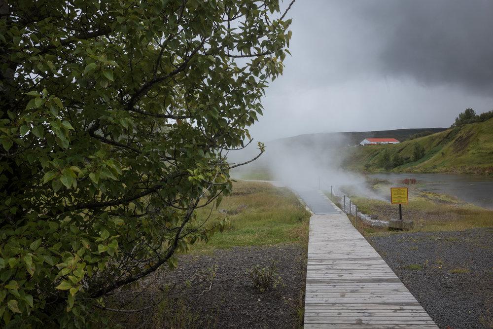 A path at the Secret Lagoon, in Flúðir